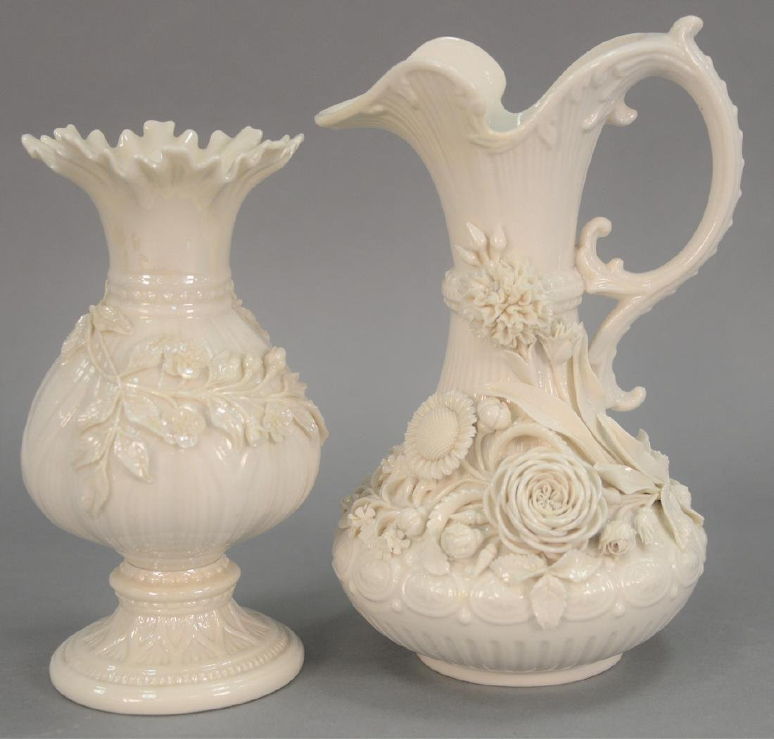 Two Belleek vases including Belleek Aberdeen vase with