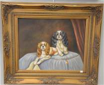 Contemporary oil on canvas still life with two dogs