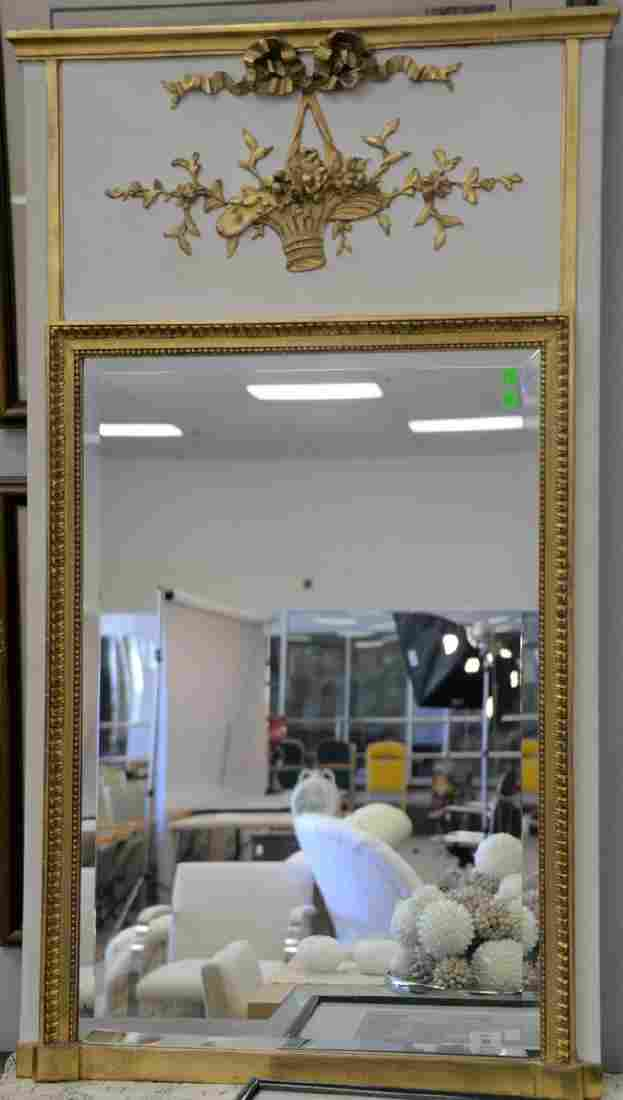 French style trumeau mirror having white with parcel