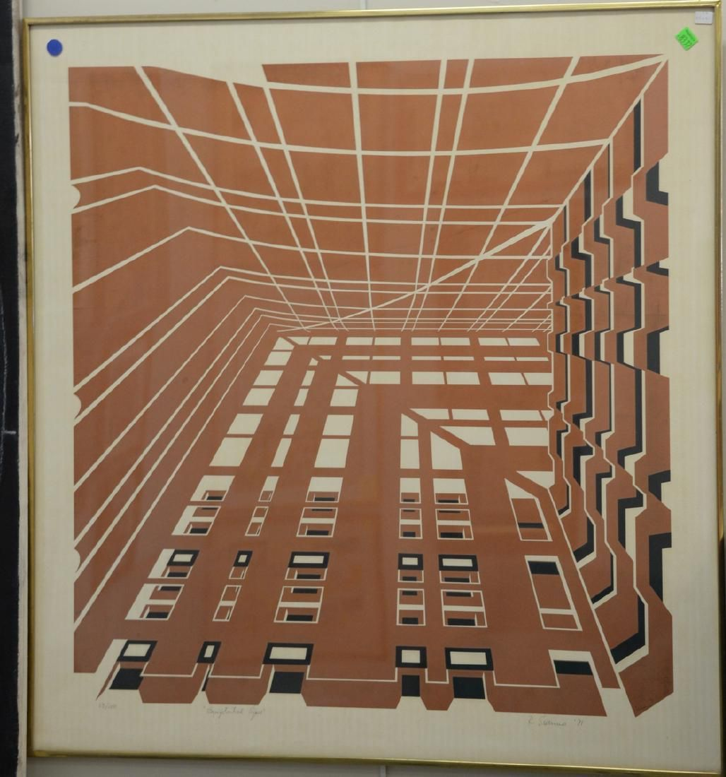 Two geometrical abstract lithographs including Richard