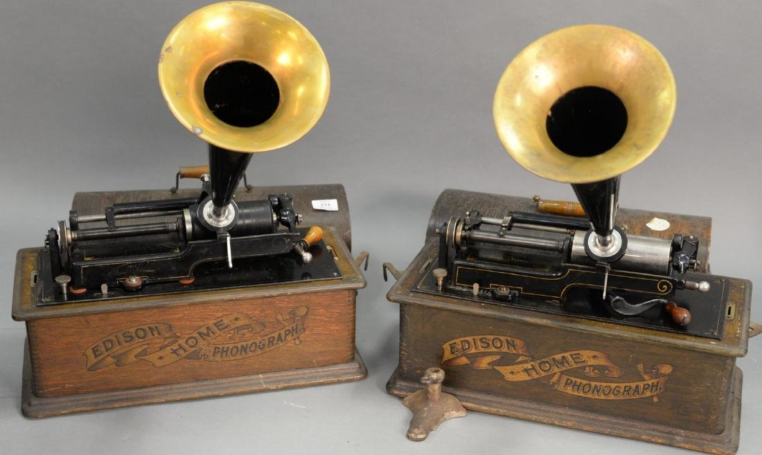 Two Thomas Edison Home cylinder phonographs, both with