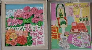 Three contemporary oil on canvas paintings including
