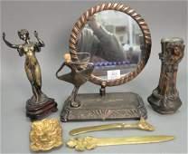 Six art nouveau pieces including two heavy brass art