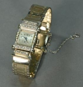 14K white gold ladies wristwatch, mesh band and square