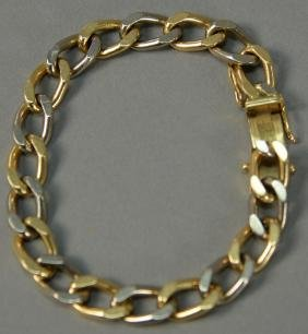 18K gold bracelet with alternating white gold and