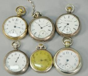 Group of six pocket watches, three are coin silver.