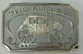 Wells Fargo sterling silver Western belt buckle with