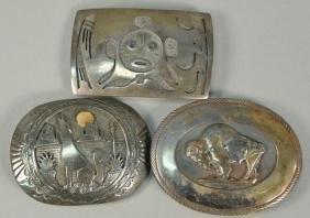 Three sterling silver Western Navajo Native American