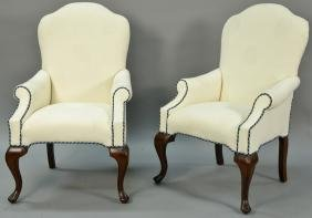 Pair of custom upholstered Queen Anne style armchairs,
