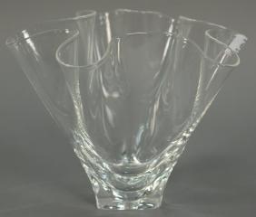 Large Steuben crystal glass Handkerchief vase signed on