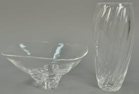 Two Steuben crystal glass pieces to include a twist