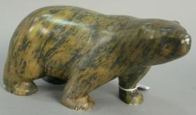 Inuit Eskimo carving Mark Totan (1953) brown/black
