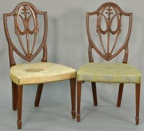 Pair of custom mahogany Federal style chairs with