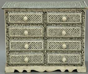 Inlaid eight drawer chest, 20th century. ht. 30in.,
