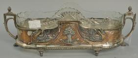 Silverplate centerpiece having two handles, side
