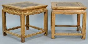 Pair of Chinese hardwood stands with square burl wood