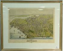 Birdseye view map colored lithograph View of Beverly
