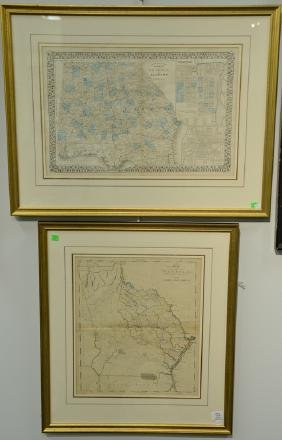 Two colored engraved maps including the State of