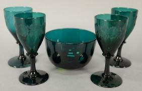 Five piece Bristol glass lot with four etched stems and