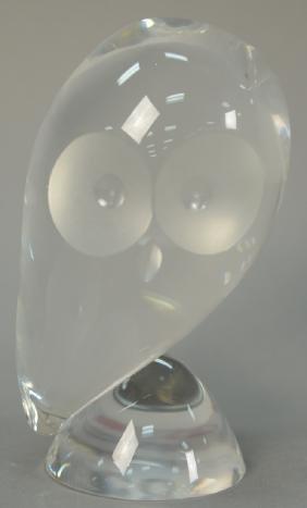 Steuben crystal owl figurine signed Steuben. ht. 5