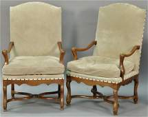 Pair of custom Continental style walnut armchairs in