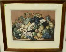 Currier  Ives handcolored lithograph American Fruit