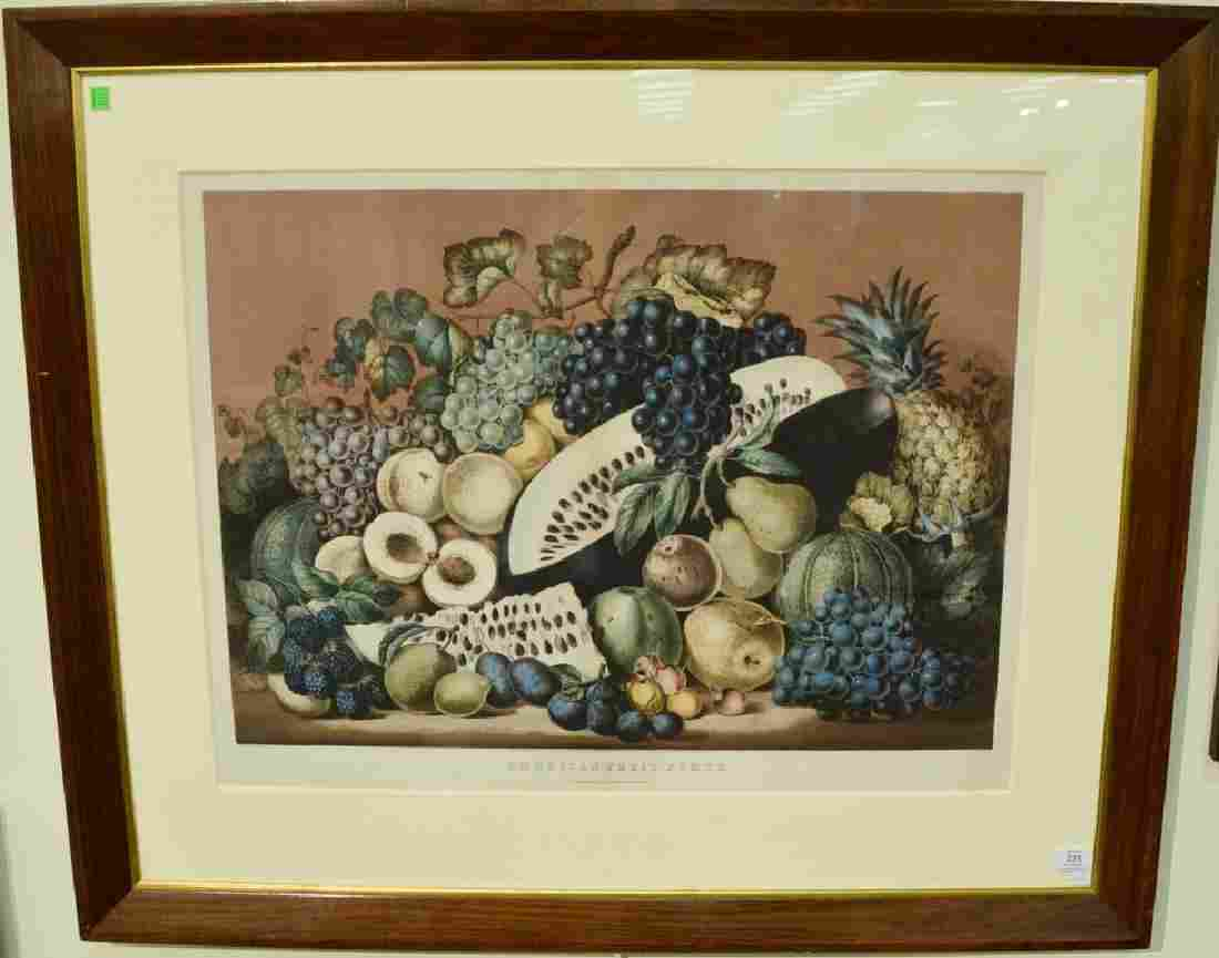 """Currier & Ives handcolored lithograph """"American Fruit"""