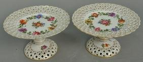 Pair of Dresden reticulated compotes. ht. 4 1/4in.