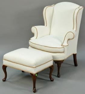 Pearson Queen Anne wing chair and ottoman with custom