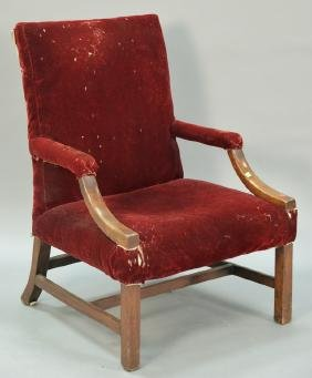 George III mahogany library open armchair on squared