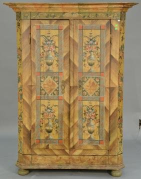 Paint decorated two door armoire, European 19th
