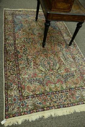 "Kirman Oriental rug, tree of life design. 4'10"" x 8'5"""