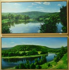 "Pair of Jay Brooks (20th century) oil on canvas ""River"