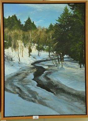 Jay Brooks (20th century) oil on board Winter Stream