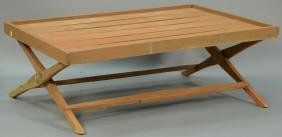 Teak folding coffee table, possibly Donghia or Janus et