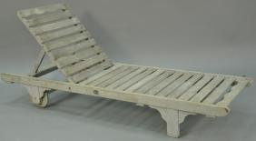 Lister teak chaise lounge. lg. 77in.