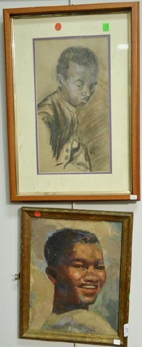 Two portrait paintings including an oil on canvas