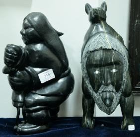 Two Inuit Eskimo carvings to include Charlie Inukpuk