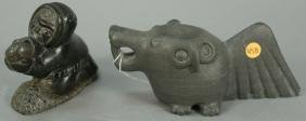 Two Inuit Eskimo figural carvings including Maggie