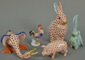 Five Herend Hungary porcelain animal figurines