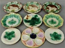 Nine piece Majolica lot including three serving plates