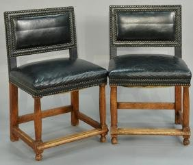 Set of eight custom leather upholstered chairs with