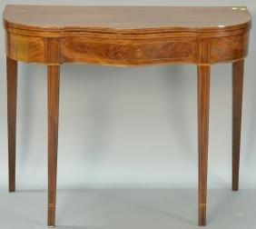 Hepplewhite mahogany inlaid game table with serpentine