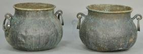 Pair of large copper pots with copper handles. ht.