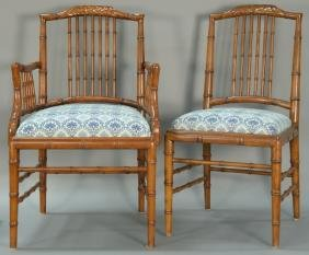 Set of eight faux bamboo dining chairs, each with