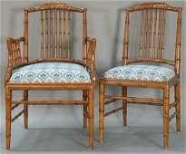 Set of eight faux bamboo dining chairs each with