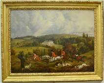 Oil on board 19th century Foxhunt Landscape unsigned