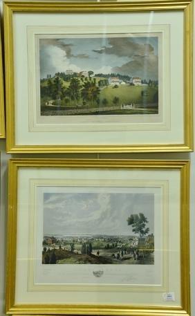 Four framed colored lithographs including Miss E.