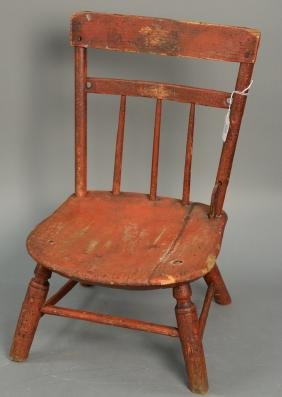 Child's Windsor side chair signed G. Dewey, early 19th