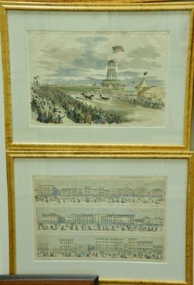 Set of eight large framed Harper's Weekly prints to